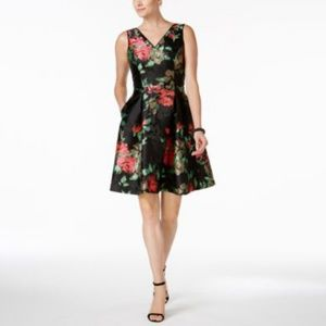 Ivanka Trump Dress Embroidered Floral Fit Flare